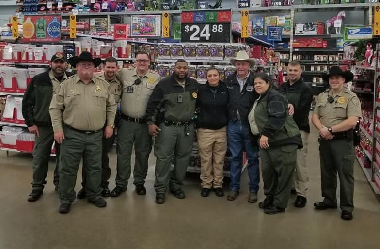 Officers in a group at walmart